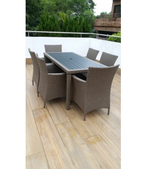 Grey Indoor Outdoor 7-piece Rectangle Dining Table Set