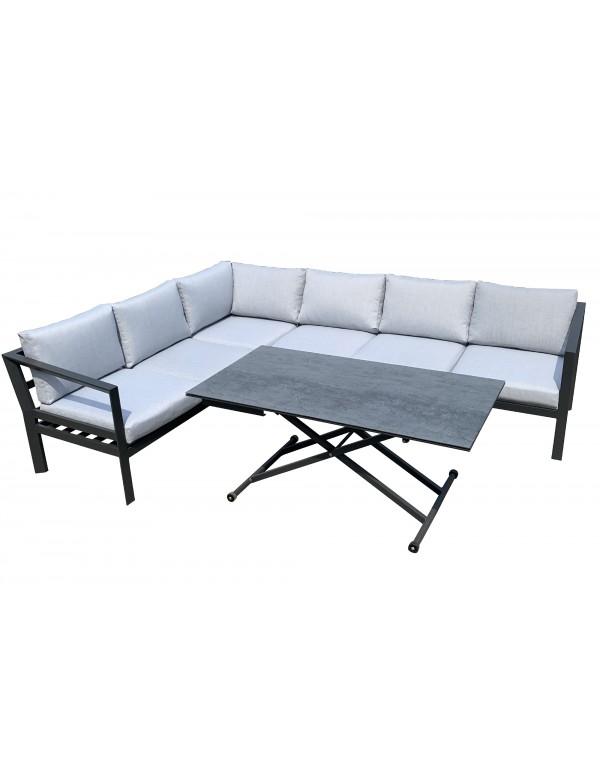 鋁合金轉角沙發套裝連可折疊茶几