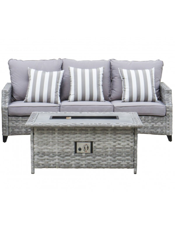 UHome Gas Firetable Rattan Sofa Set - 3 seater sofa