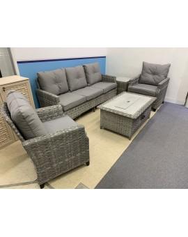 uHome Gas Firetable Rattan Sofa Set