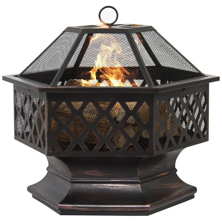 "UHome 24"" Hexagon Design Outdoor Fire Pit"