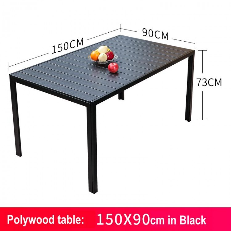 Polywood table 150 x 90cm in Black