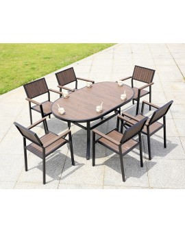 Polywood Oval shape table set - straight board