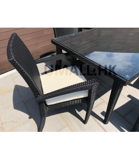 Aluminum rattan table & 6 arm chair set