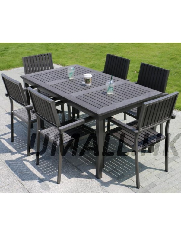 Matte Grey polywood table set