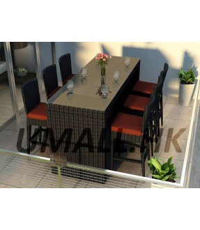Rattan Bar stool table and 6 chairs with cushions
