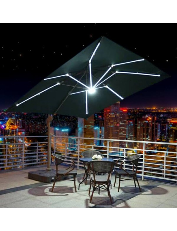Ultra Patio LED Light Cantilever Umbrella with import fabric