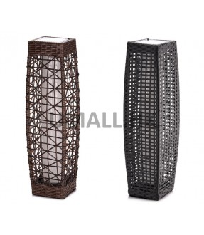 Rattan Solar LED Lamp - Dark Brown