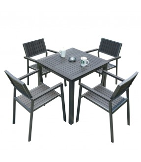 Matte Grey polywood table with 4 chairs