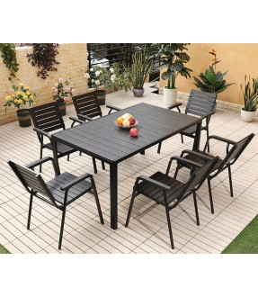 Aluminum Polywood Table Set (Black)