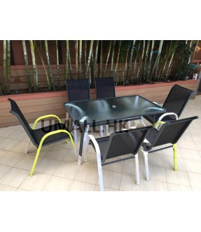 Relaxing style aluminum table with 6 chairs