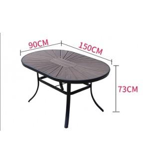 橢圓形環保木餐桌椅套裝